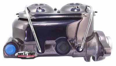Tuff Stuff Performance - Brake Master Cylinder Universal Dual Reservoir 1 1/8 in. Bore 9/16 in. And 1/2 in. Driver Side Ports Shallow Hole Fits Hot Rods/Customs/Muscle Cars Black Chrome 2071NA7