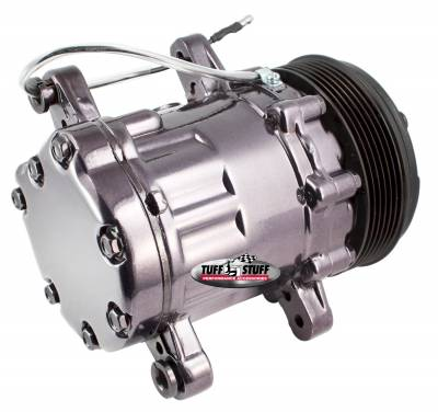 Tuff Stuff Performance - Peanut Style SD7 A/C Compressor R134A Series 6 Groove Pulley Black Chrome 4517NA6G7