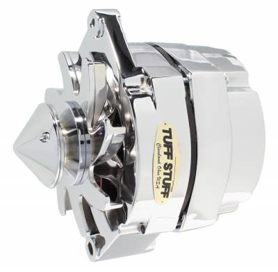 Tuff Stuff Performance - Silver Bullet Alternator 100 AMP OEM Or 1 Wire V Groove Pulley 4.85 in. Case Depth Lower Mount Boss 2 in. Long Chrome 6 Clocking 7139ABULL6