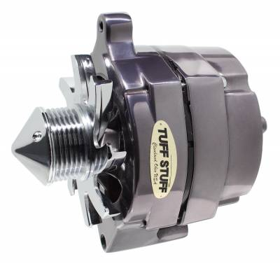 Tuff Stuff Performance - Silver Bullet Alternator 100 AMP Smooth Back 1 Wire 6 Groove Bullet Pulley Black Chrome 7068ABULL6G7