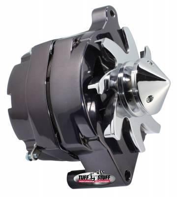 Tuff Stuff Performance - Silver Bullet Alternator 100 AMP Smooth Back 1 Wire V Bullet Pulley Black Chrome 7068ABULL7