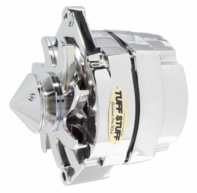 Tuff Stuff Performance - Silver Bullet Alternator 140 AMP OEM Or 1 Wire V Groove Pulley 4.85 in. Case Depth Lower Mount Boss 2 in. Long Chrome 12 Clocking 7140ABULL12