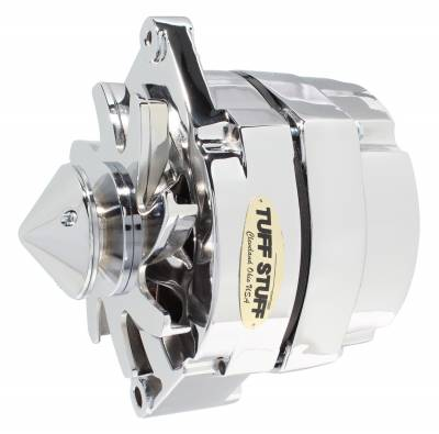 Tuff Stuff Performance - Silver Bullet Alternator 140 AMP OEM Or 1 Wire V Groove Pulley 4.85 in. Case Depth Lower Mount Boss 2 in. Long Polished 9 Clocking 7140BBULL9