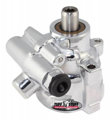 Tuff Stuff Performance - Type II Alum. Power Steering Pump LS1 Threaded Mounting Top Port 1200 PSI 19mm Shaft Diameter Chrome Aluminum 6175ALD-6
