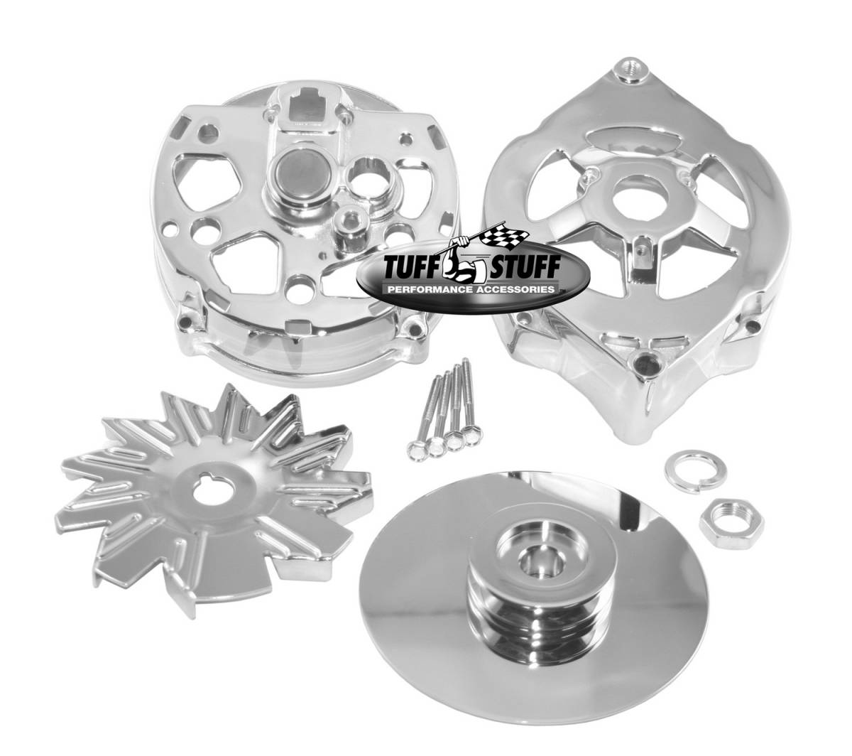 Tuff Stuff Performance - Alternator Case Kit Fits GM 10DN And Tuff Stuff Alternator PN[7102] Incl. Front And Rear Housings/Fan/Pulley/Nut/Lockwashers/Thru Bolts Chrome Plated 7500B