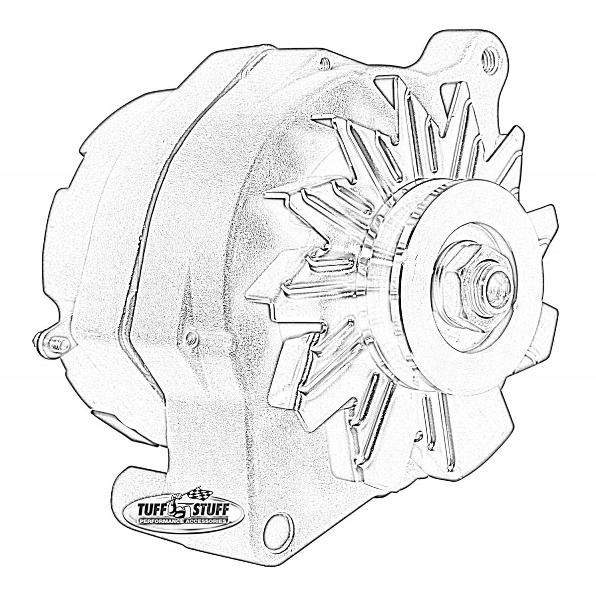 Tuff Stuff Performance - Alternator Smooth Back 1 Wire 100 AMPS 1 Grove Pulley Blue Powdercoat w/Chrome Accents 7068RFBLUE