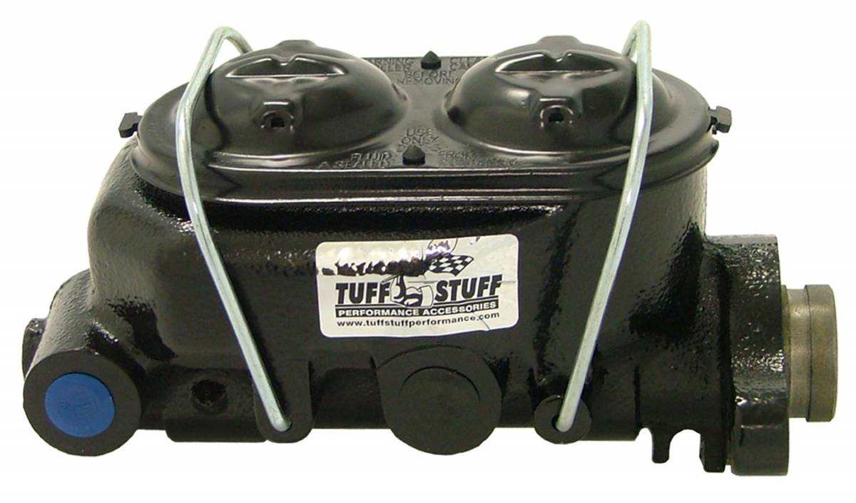 Tuff Stuff Performance - Brake Master Cylinder Dual Reservoir 1 in. Bore Dual 3/8 in. Ports On Both Sides 3 3/8 in. Mounting Hole Spacing Shallow Hole Black Powdercoat 2020NC