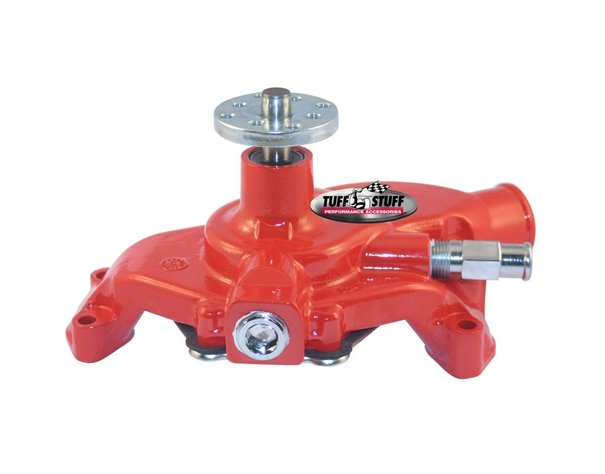Tuff Stuff Performance - SuperCool Water Pump 5.625 in. Hub Height 5/8 in. Pilot Short Threaded Water Port Red Powdercoat w/Chrome Accents 1354NCRED