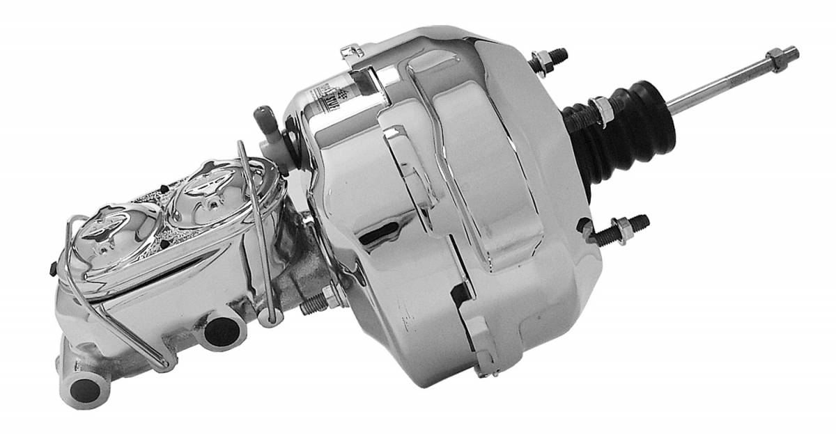 Tuff Stuff Performance - Brake Booster w/Master Cylinder Univ. 9 in. 1 1/8 in. Bore Dual Diaphragm w/PN[2071] Dual Rsvr. Master Cyl. Incl. 3/8 in.-16 Mtg. Studs/Hardware Chrome 2124NA