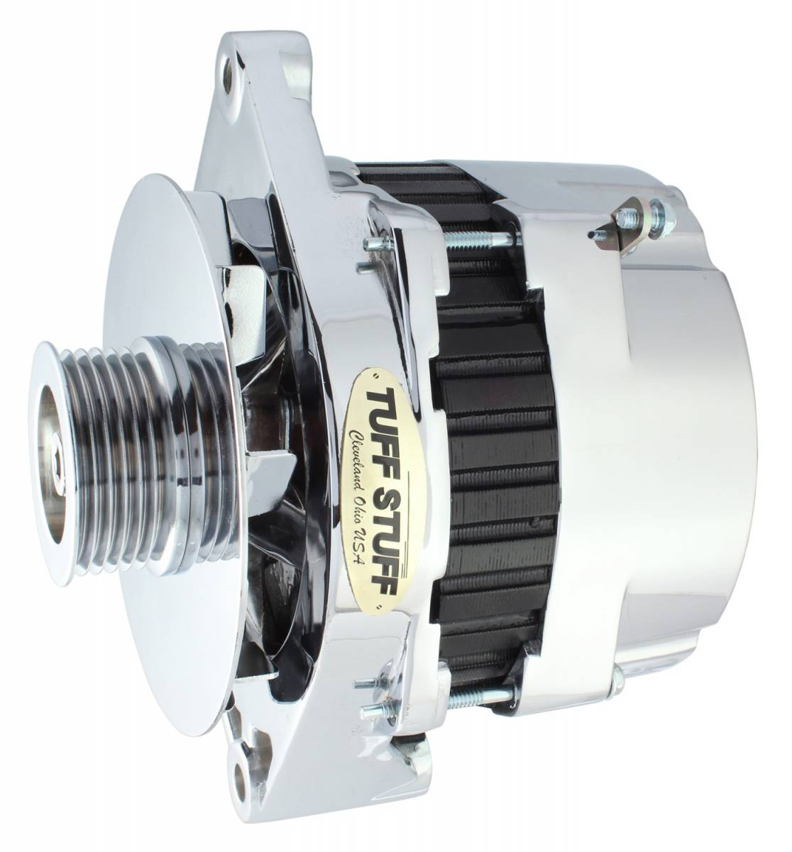 Tuff Stuff Performance - Alternator 170 AMP OEM Wire 6 Groove Pulley Double Groove Heavy Duty Ball Bearings Aluminum Polished 7864AP