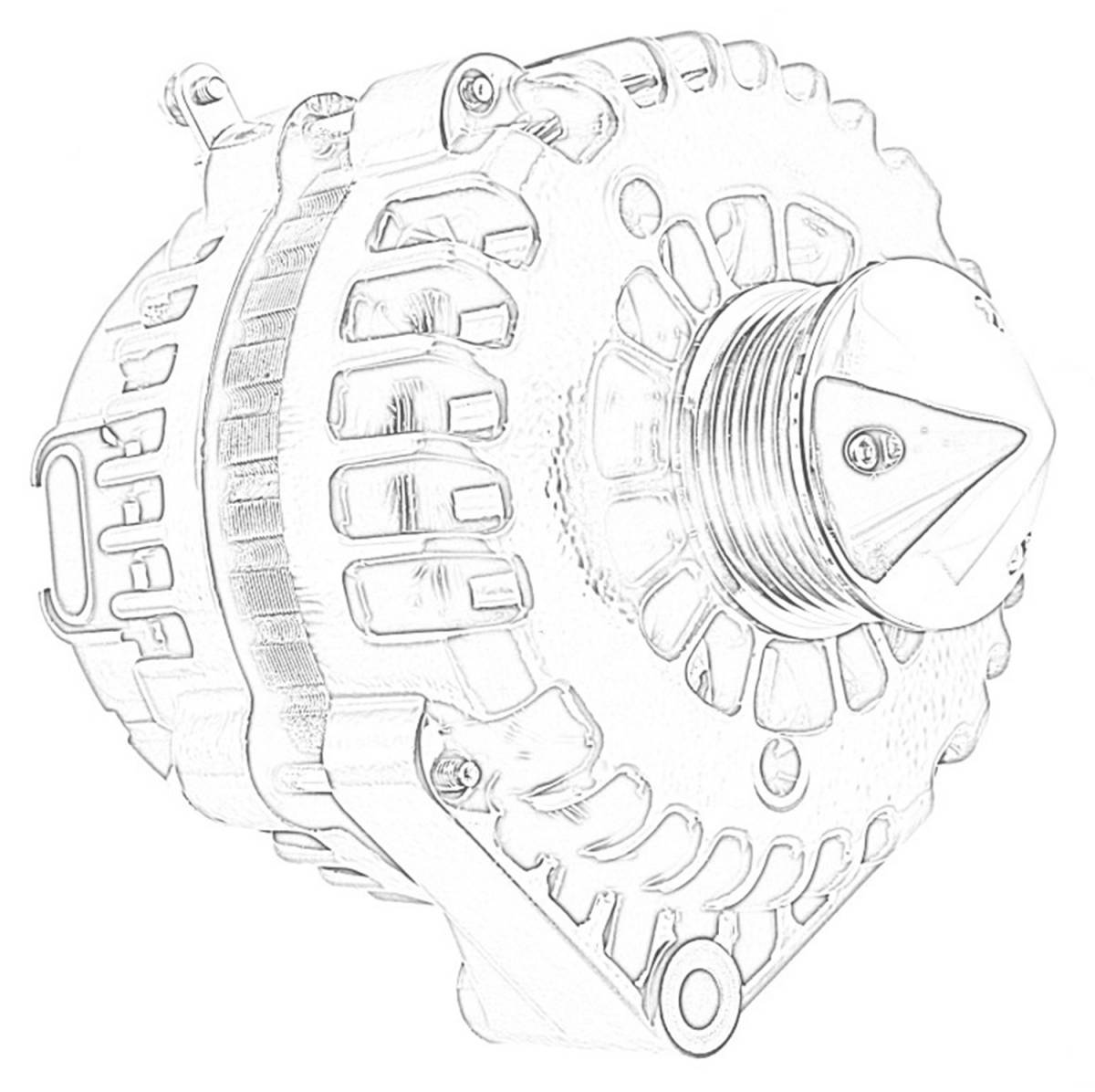 Tuff Stuff Performance - Silver Bullet Alternator 225 AMP OEM Wire 6 Groove Bullet Pulley 4 Pin Voltage Regulator Polished 8237CPBULL