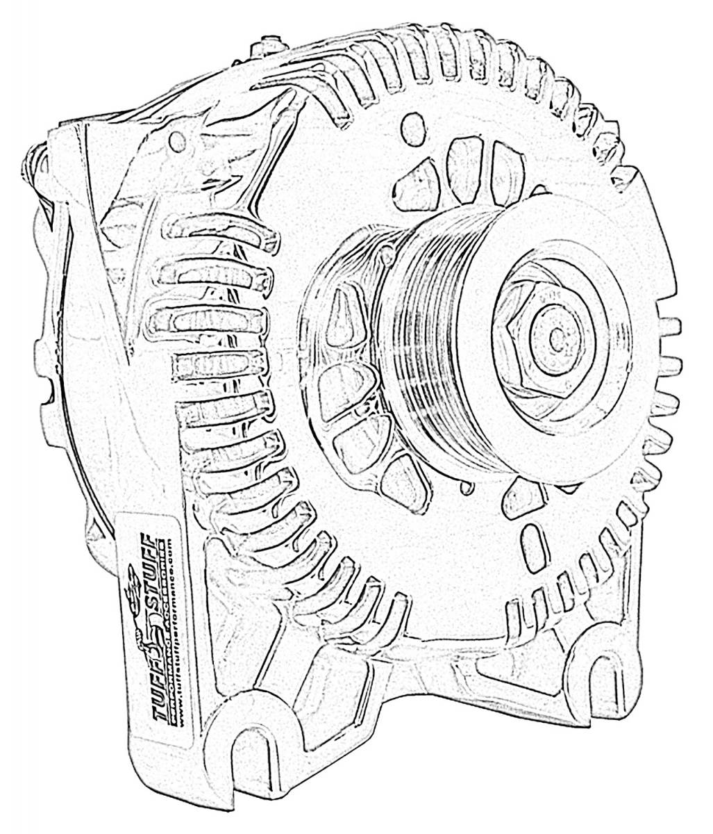 Tuff Stuff Performance - Alternator; 225 AMP Upgrade; DOHC Applications; OEM Wire; 6 Groove Pulley; Internal Regulator; Yellow; 7781DYELLOW