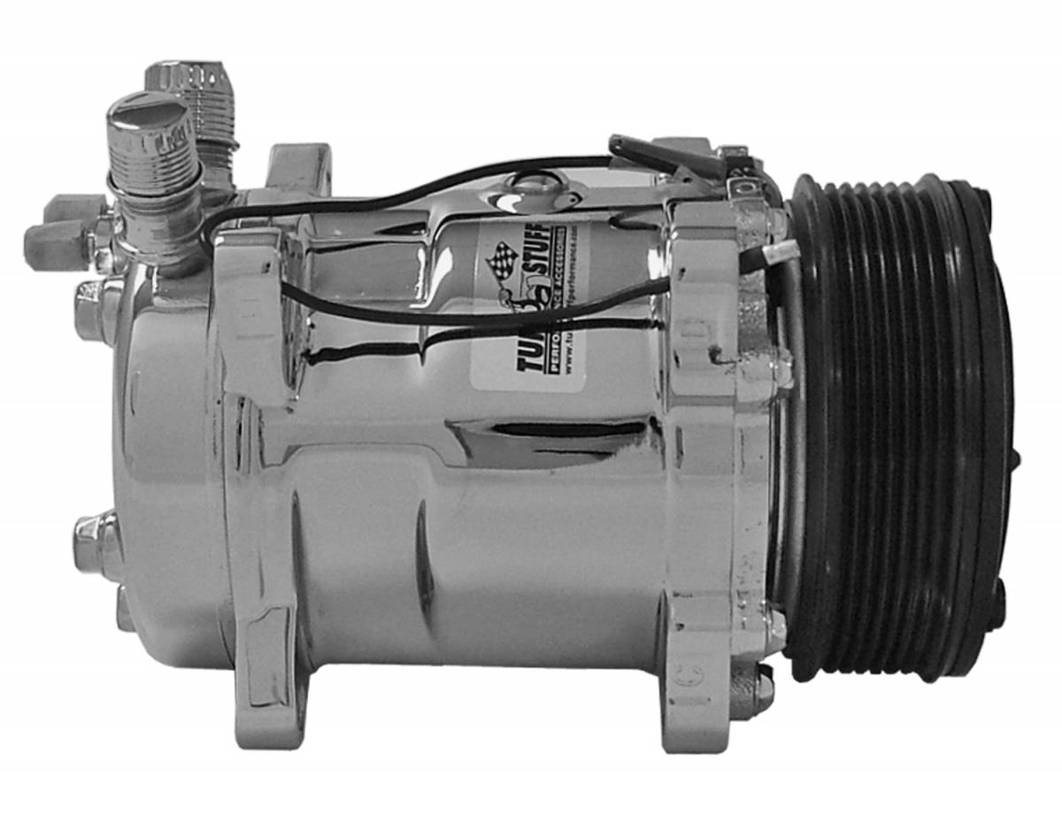 Tuff Stuff Performance - Sanden Style SD508 A/C Compressor; R12 Series; 6 Grove Pulley; Chrome; 4505NA6G