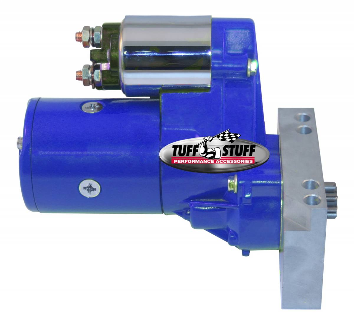 Tuff Stuff Performance - Gear Reduction Starter 1.4 KW 1.9 HP w/Straight Mounting Block 153 or 168 Tooth Flywheel Blue Powdercoat w/Chrome Accents 6584BBLUE