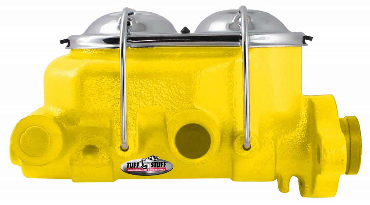 Tuff Stuff Performance - Brake Master Cylinder Univ. Dual Reservoir 1 1/8 in. Bore 9/16 in. And 1/2 in. Driver Side Ports Shallow Hole Fits Hot Rods/Customs/Muscle Cars Yellow Powdercoat 2071NCYELLOW