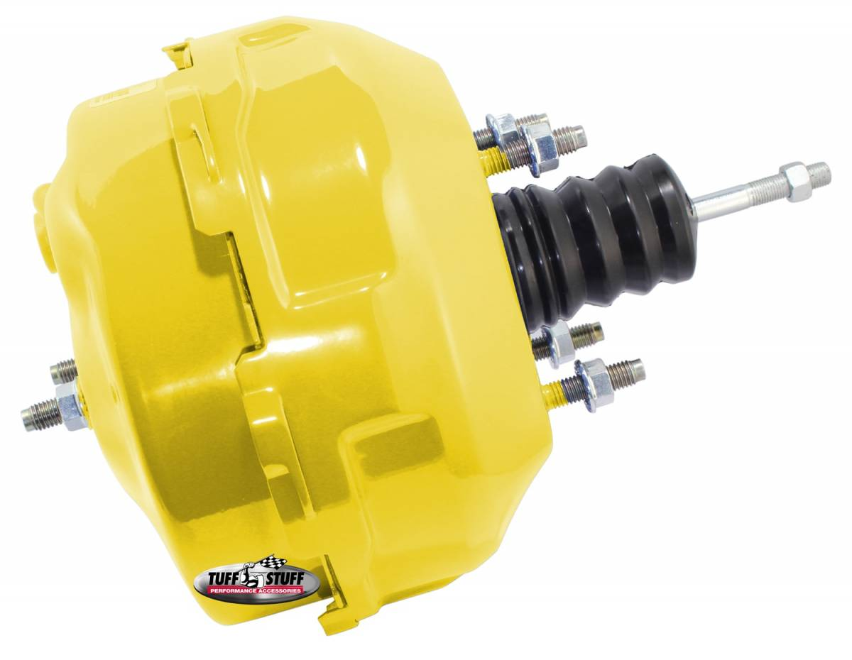 Tuff Stuff Performance - Power Brake Booster Univ. 9 in. Dual Diaphragm Incl. 3/8 in.-16 Mtg. Studs And Nuts Fits Hot Rods/Customs/Muscle Cars Yellow Powdercoat 2224NCYELLOW