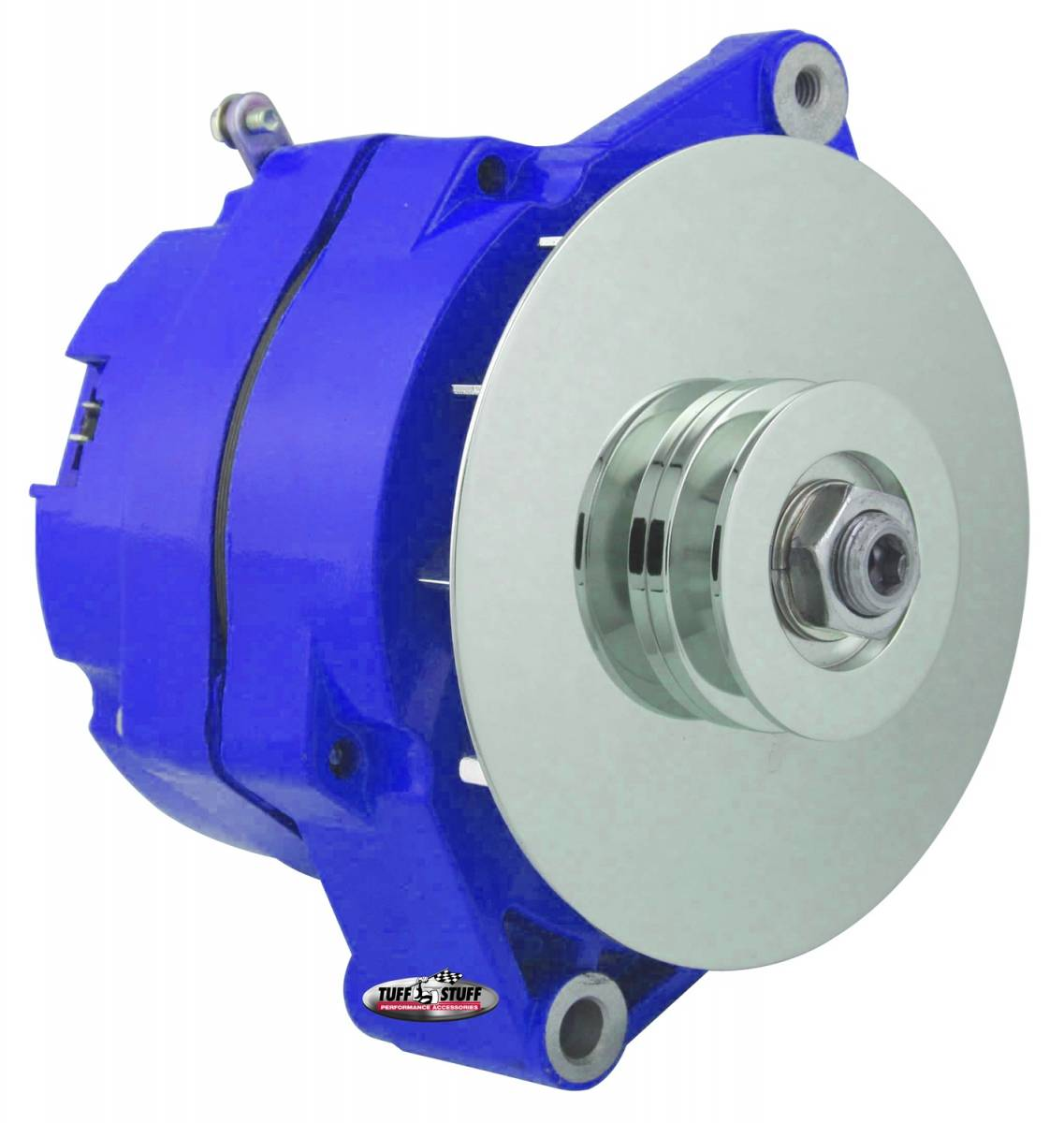 Tuff Stuff Performance - Alternator 80 AMP OEM Wire 10si Case V Groove Pulley External Regulator Blue Powdercoat w/Chrome Accents Must Be Used With An External Solid State Voltage Regulator 7102NFBLUE