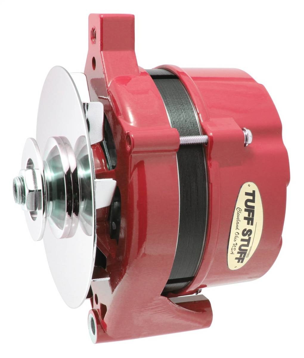 Tuff Stuff Performance - Alternator 70 AMP OEM Wire 1G Case V Groove Pulley Red Powdercoat w/Chrome Accents 7078NHRED