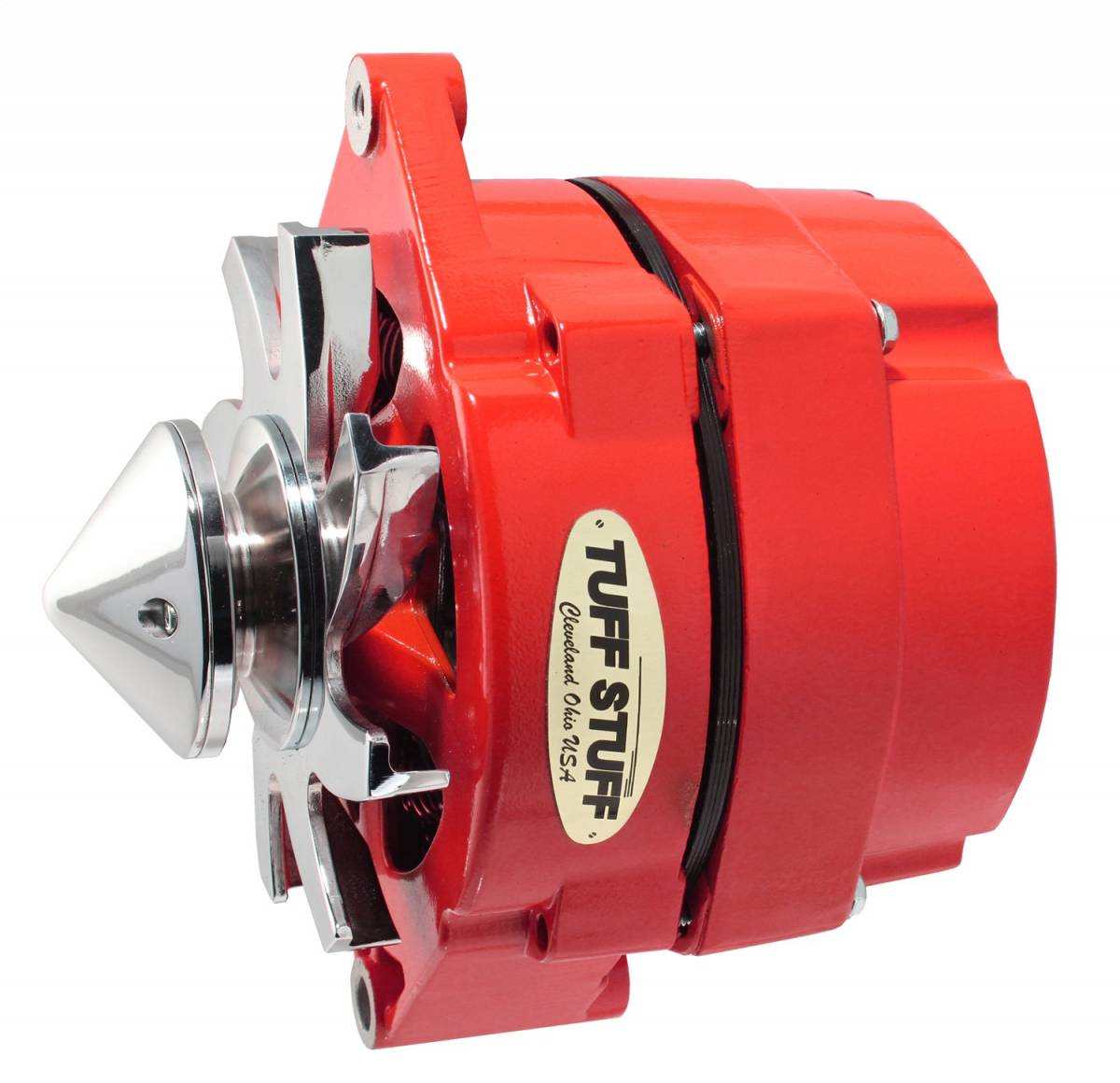 Tuff Stuff Performance - Silver Bullet Alternator 100 AMP OEM Or 1 Wire V Groove Bullet Pulley 4.85 in. Case Depth Lower Mount Boss 2 in. Long Red Powdercoat w/Chrome Accents 7139FBULLRED