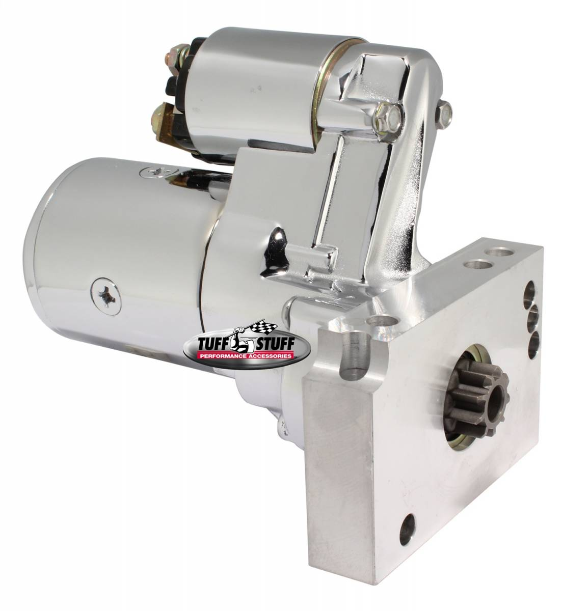 Tuff Stuff Performance - Gear Reduction Starter 1.4 KW 1.9 HP w/Straight Mounting Block 153 Or 168 Tooth Flywheel Chrome 6584A