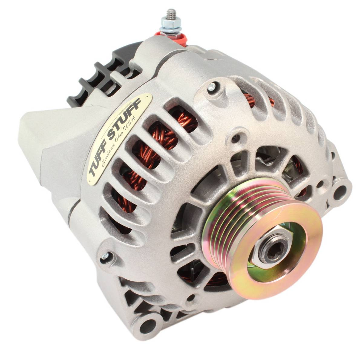 Tuff Stuff Performance - Alternator 125 AMP Factory Cast PLUS+ 1-Wire Or OEM Hookup Side Post 6 Groove Pulley 82061
