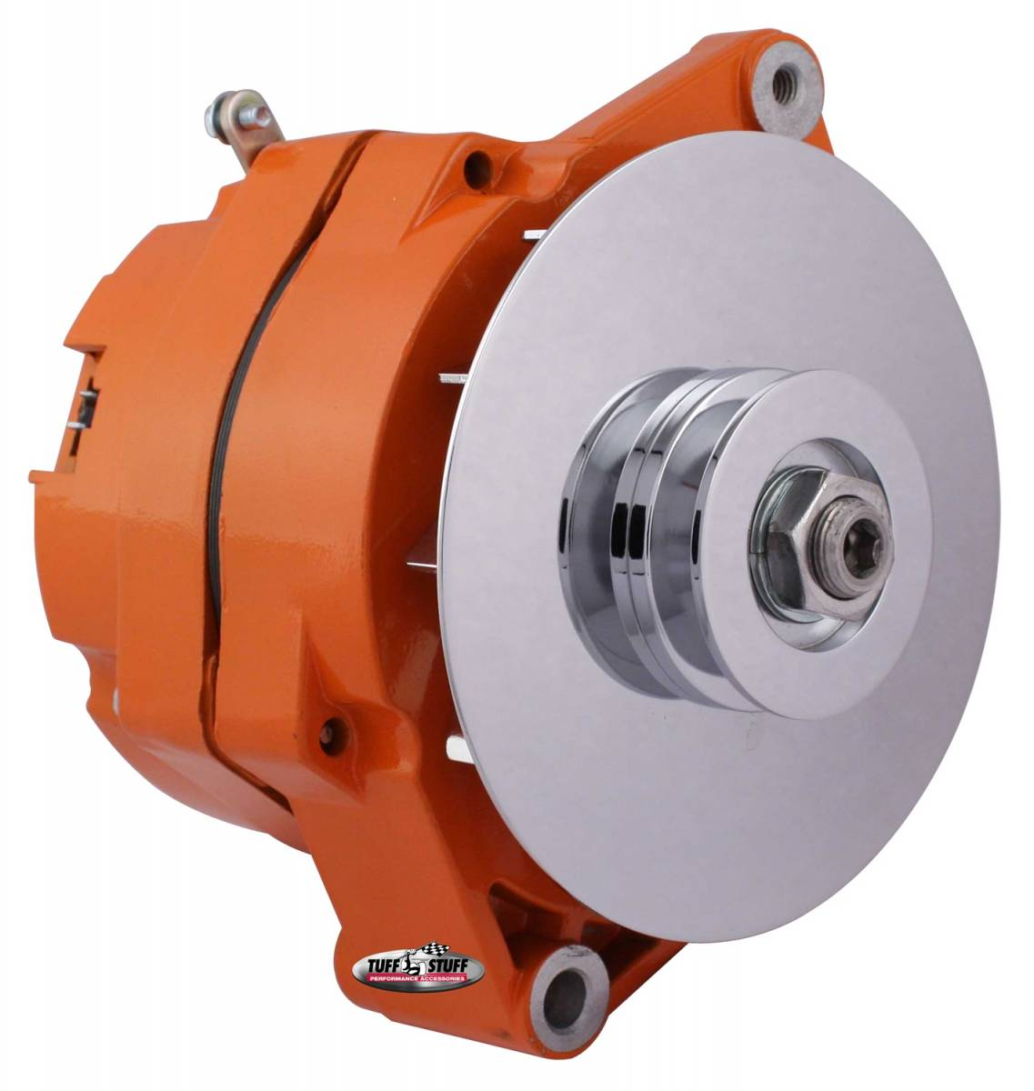 Tuff Stuff Performance - Alternator 80 AMP OEM Wire 10si Case V Groove Pulley External Regulator Orange Powdercoat w/Chrome Accents Must Be Used With An External Solid State Voltage Regulator 7102NFORANGE