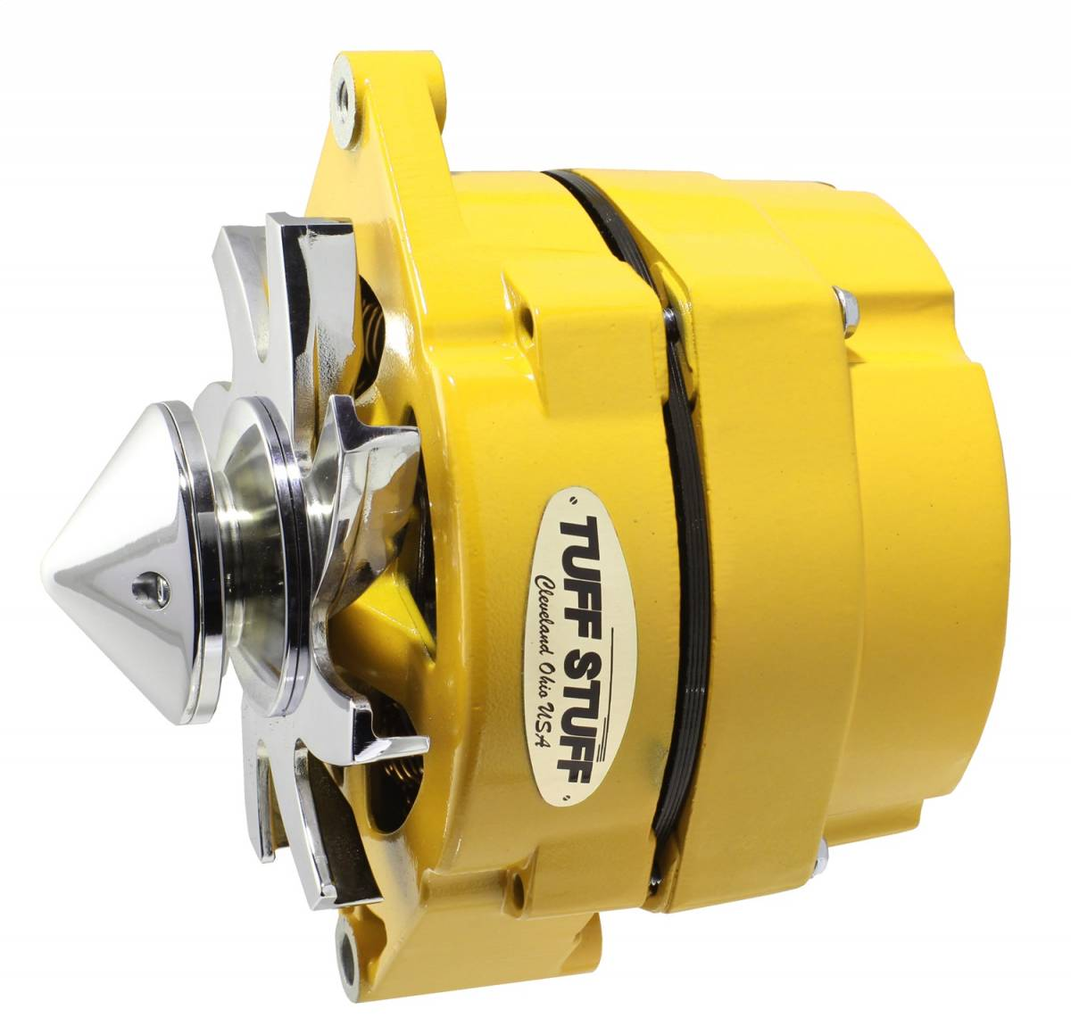 Tuff Stuff Performance - Silver Bullet Alternator 100 AMP OEM Or 1 Wire V Groove Bullet Pulley 4.85 in. Case Depth Lower Mount Boss 2 in. Long Yellow Powdercoat w/Chrome Accents 7139FBULLY