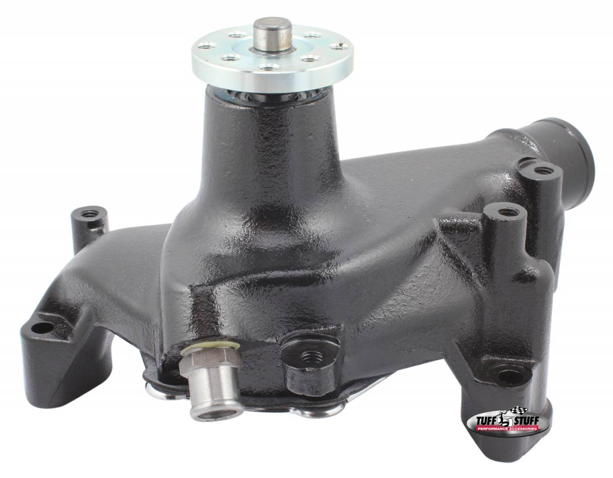 Tuff Stuff Performance - SuperCool Water Pump 6.937 in. Hub Height 5/8 in. Pilot Long Reverse Rotation Threaded Water Port Stealth Black Powder Coat For Custom Serpentine Systems Only 1449NCREV
