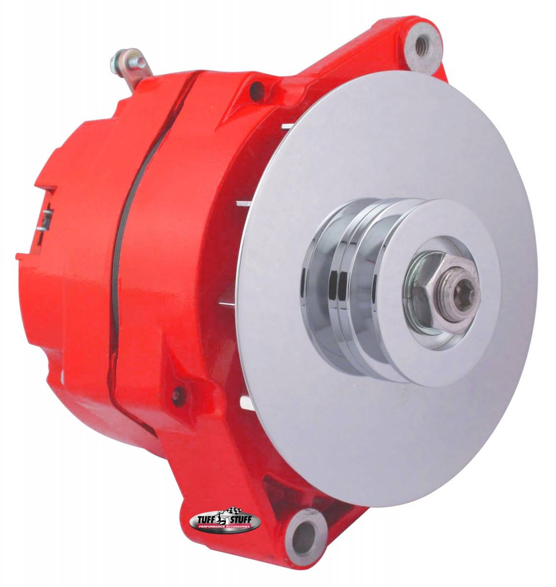 Tuff Stuff Performance - Alternator 80 AMP OEM Wire 10si Case V Groove Pulley External Regulator Red Powdercoat w/Chrome Accents Must Be Used With An External Solid State Voltage Regulator 7102NFRED