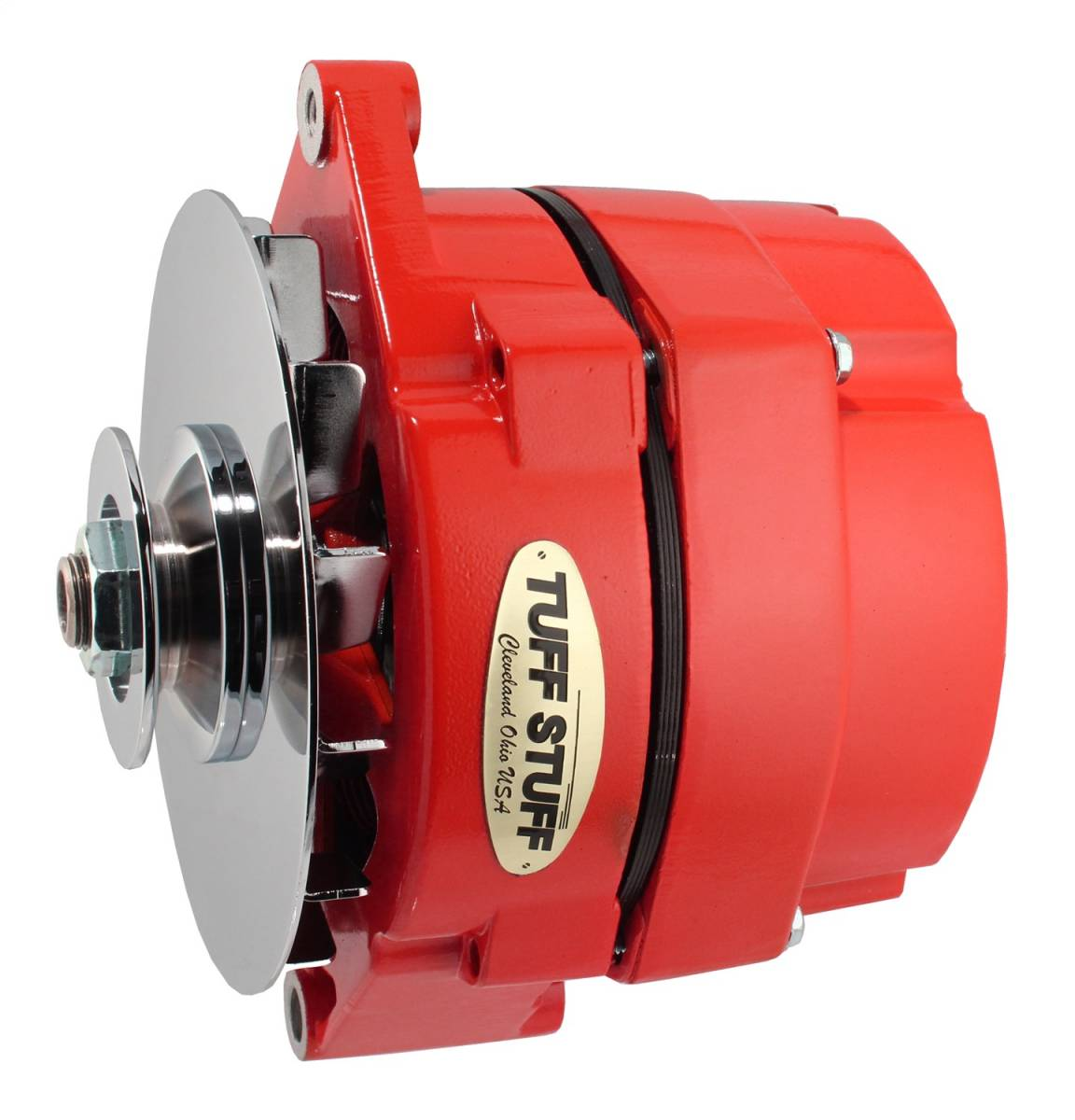 Tuff Stuff Performance - Alternator 100 AMP OEM Or 1 Wire V Groove Pulley Red Powdercoat w/Chrome Accents 7127NFRED