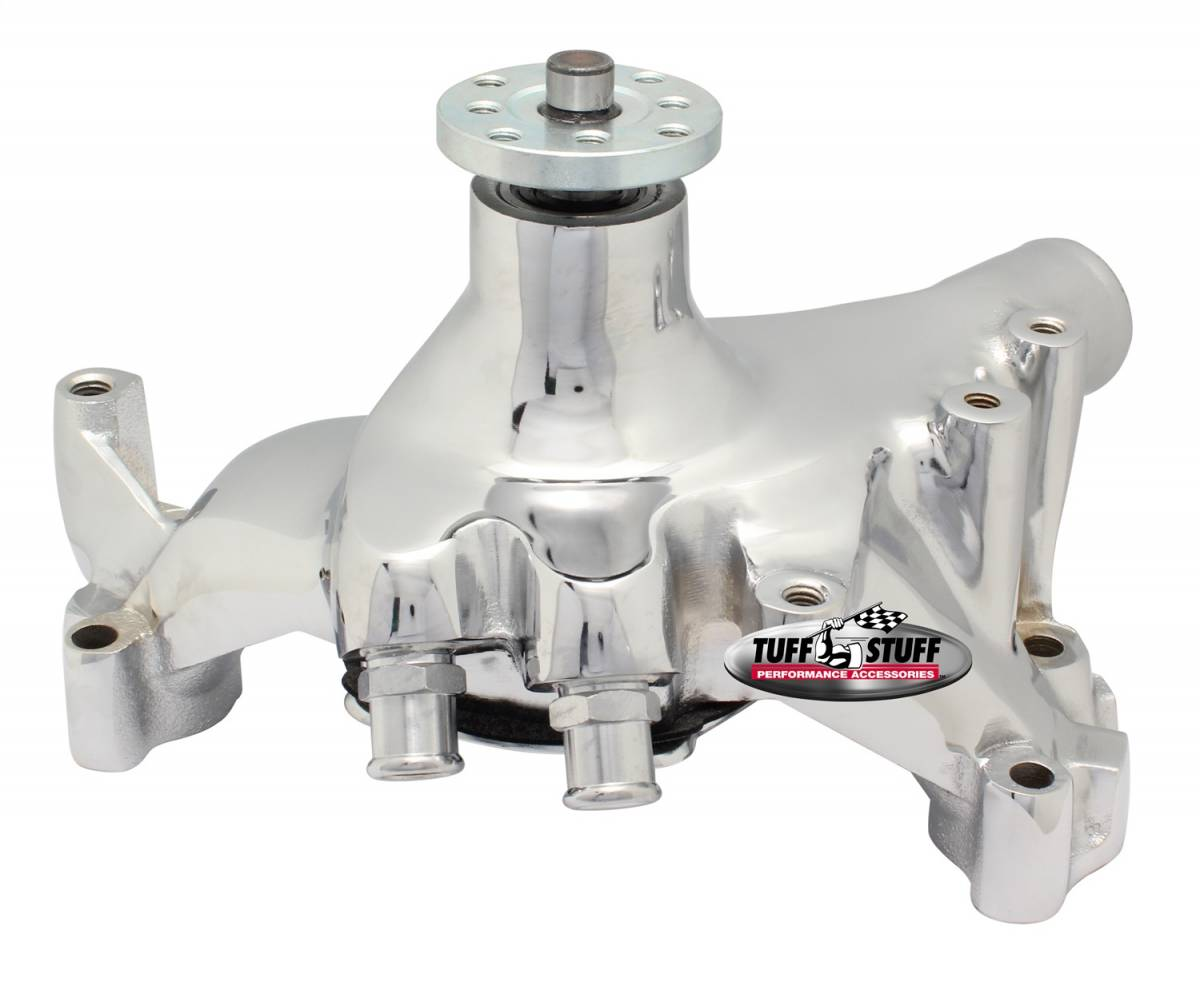 Tuff Stuff Performance - SuperCool Water Pump 7.281 in. Hub Height 5/8 in. Pilot Long Reverse Rotation (2) Threaded Water Ports Chrome For Custom Serpentine Systems Only 1461NBREV