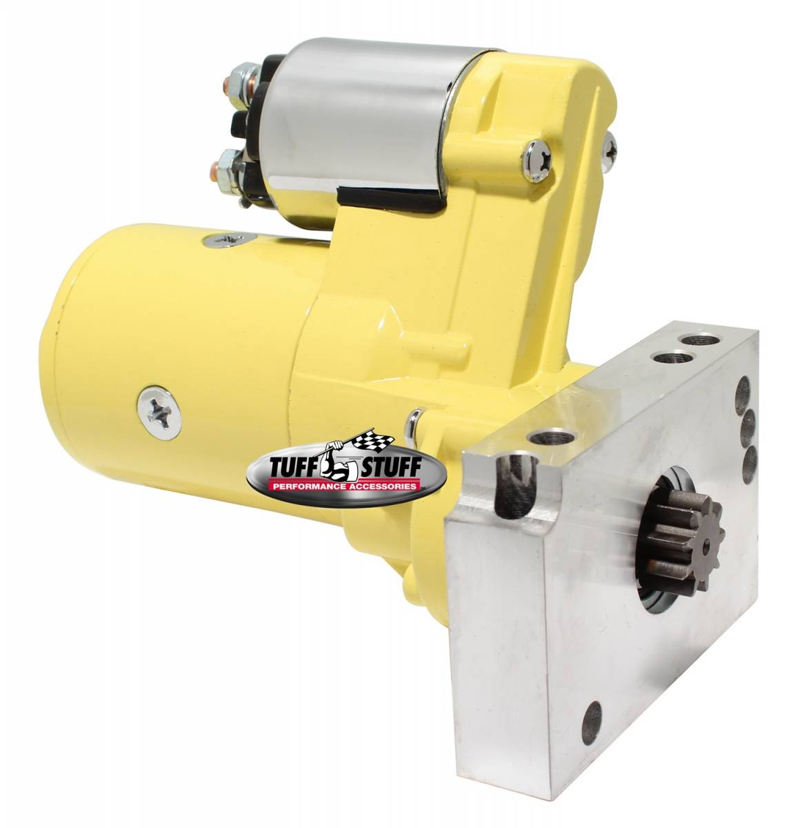 Tuff Stuff Performance - Gear Reduction Starter 1.4 KW 1.9 HP w/Straight Mounting Block 153 or 168 Tooth Flywheel Yellow Powdercoat w/Chrome Accents 6584BYELLOW