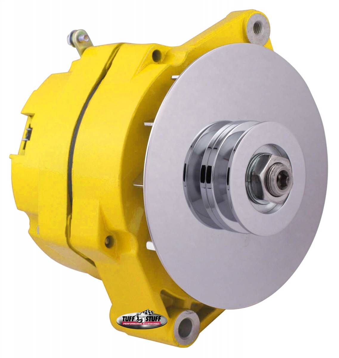 Tuff Stuff Performance - Alternator 80 AMP OEM Wire 10si Case V Groove Pulley External Regulator Yellow Powdercoat w/Chrome Accents Must Be Used With An External Solid State Voltage Regulator 7102NFYELLOW