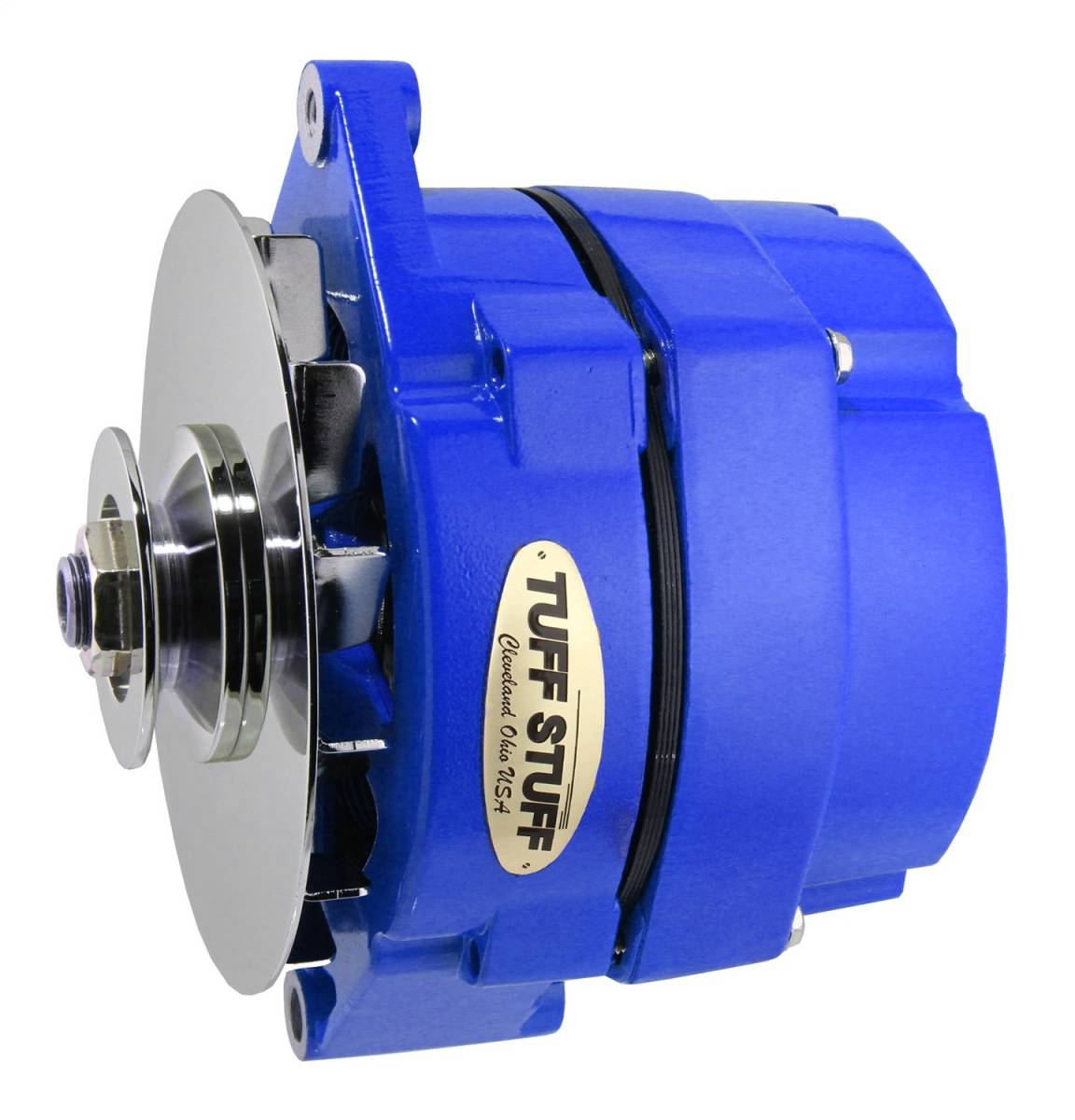 Tuff Stuff Performance - Alternator 100 AMP OEM Or 1 Wire V Groove Pulley Blue Powdercoat w/Chrome Accents 7127NFBLUE