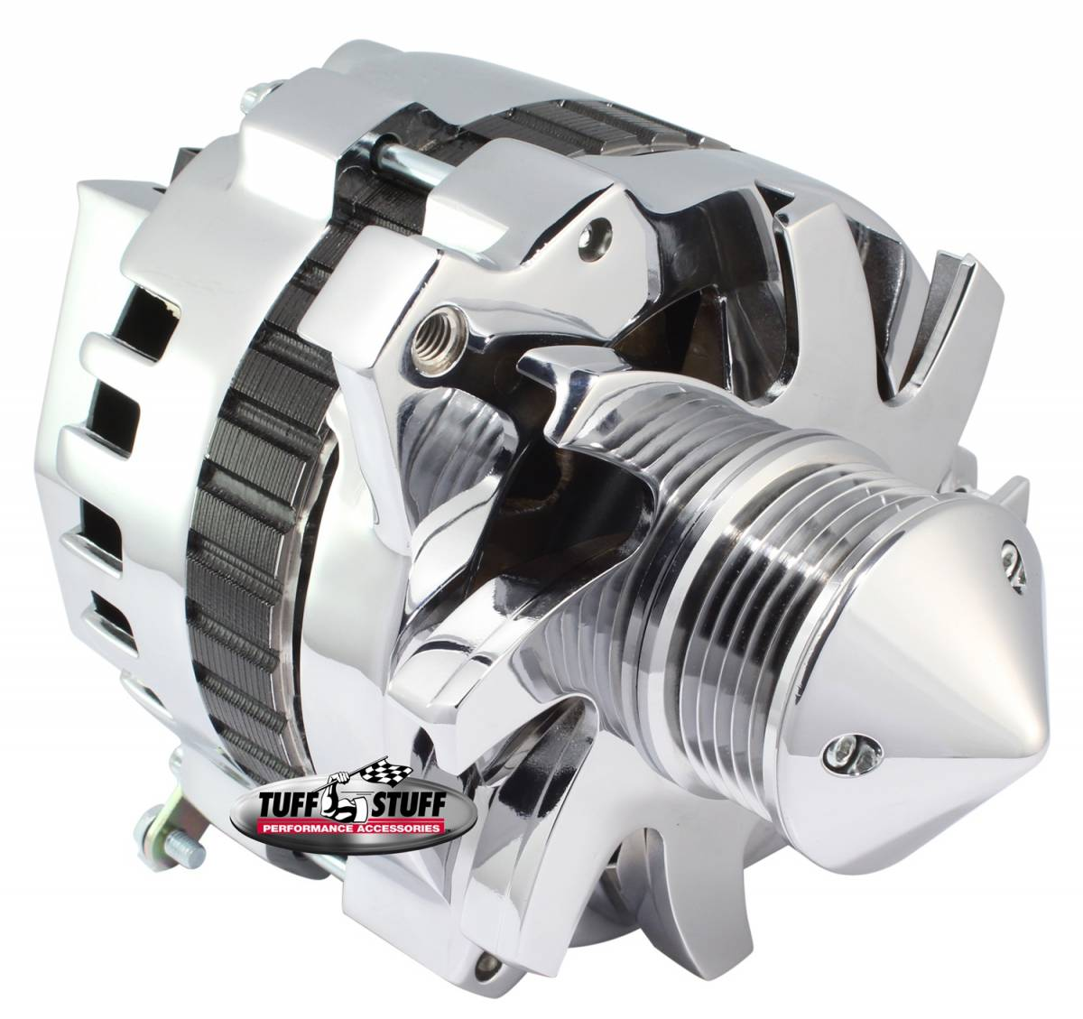 Tuff Stuff Performance - Bullet Alternator 160 AMP 1 Wire Or OEM Hookup 6 Groove Pulley 6.125 in. Bolt To Bolt Chrome 7866F6G22