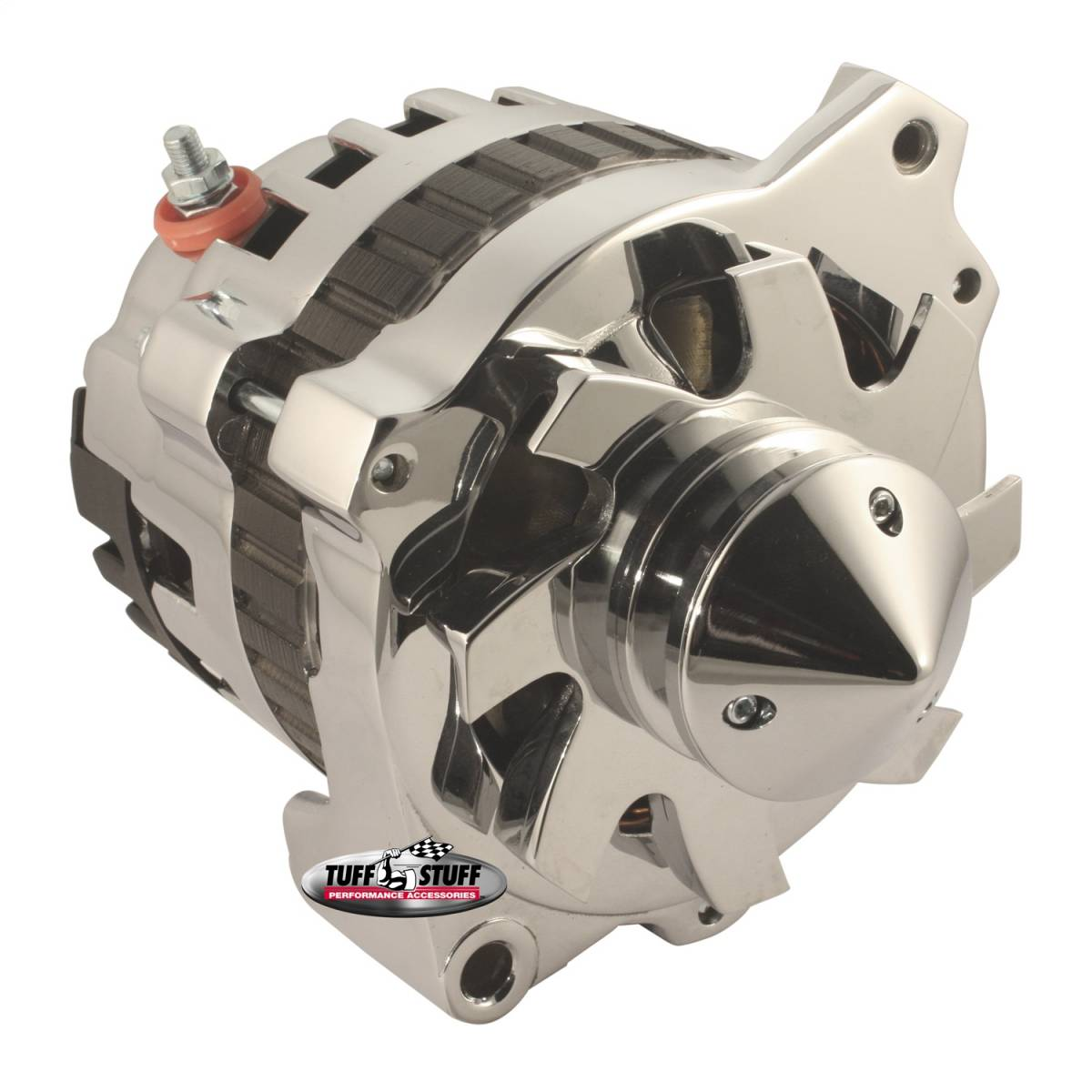 Tuff Stuff Performance - Silver Bullet Alternator 160 AMP 1 Wire Or OEM Hookup V Groove Pulley Internal And External Cooling Fans 6.125 in. Bolt To Bolt Polished 7866BBULL