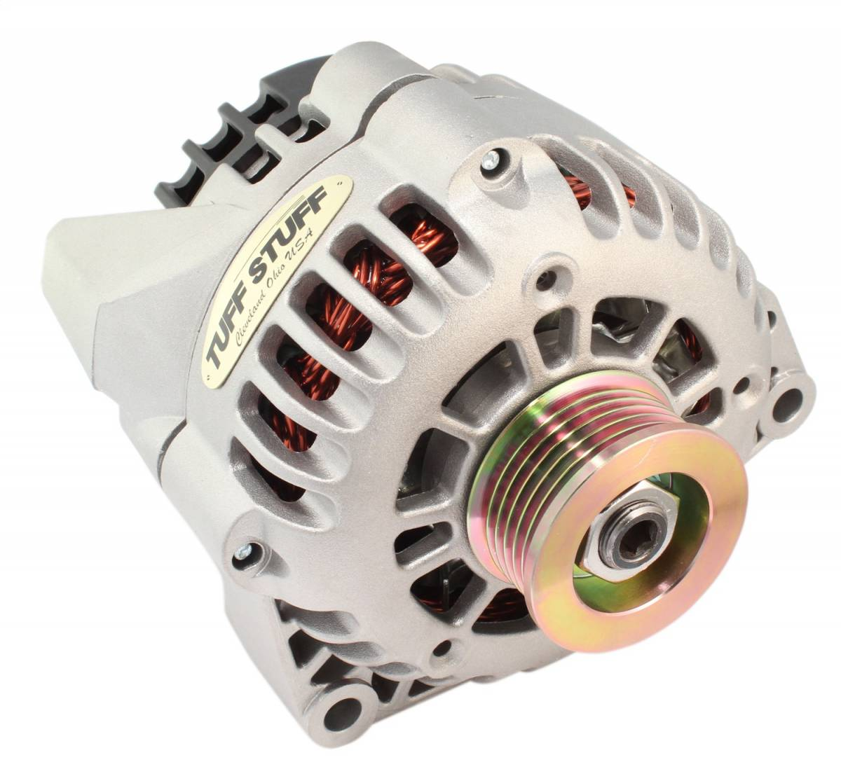 Tuff Stuff Performance - Alternator 175 AMP Upgrade 1-Wire Or OEM Wire Hookup Double Wide Heavy Duty Ball Bearings 6 Groove Pulley Factory Cast PLUS+ 8206ND