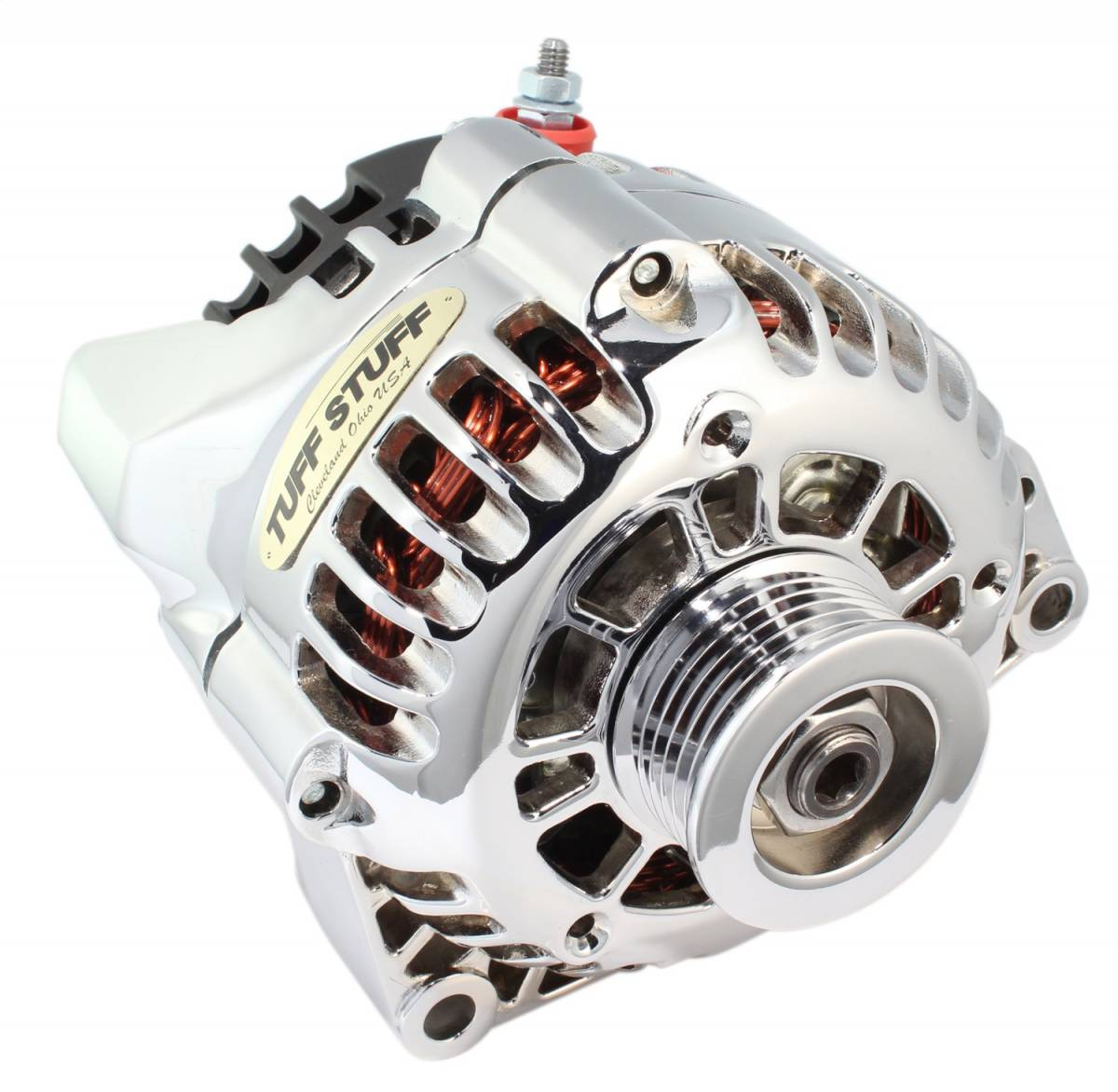 Tuff Stuff Performance - Alternator 125 AMP Chrome Plated 1-Wire Or OEM Hookup Side Post 6 Groove Pulley 8206NA1