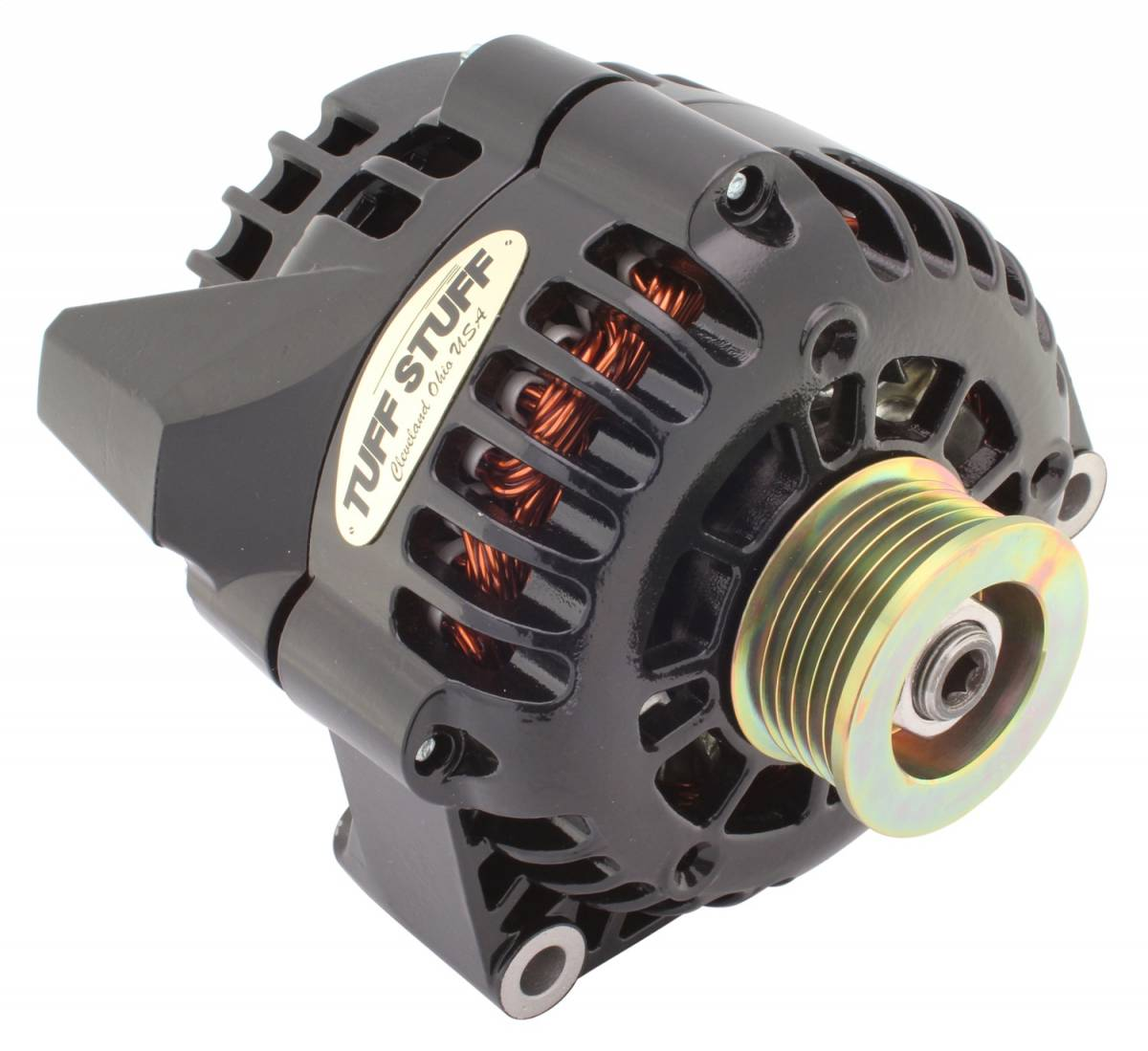 Tuff Stuff Performance - Alternator 175 AMP Upgrade 1-Wire Or OEM Wire Hookup 6 Groove Pulley Stealth Black 8206NB