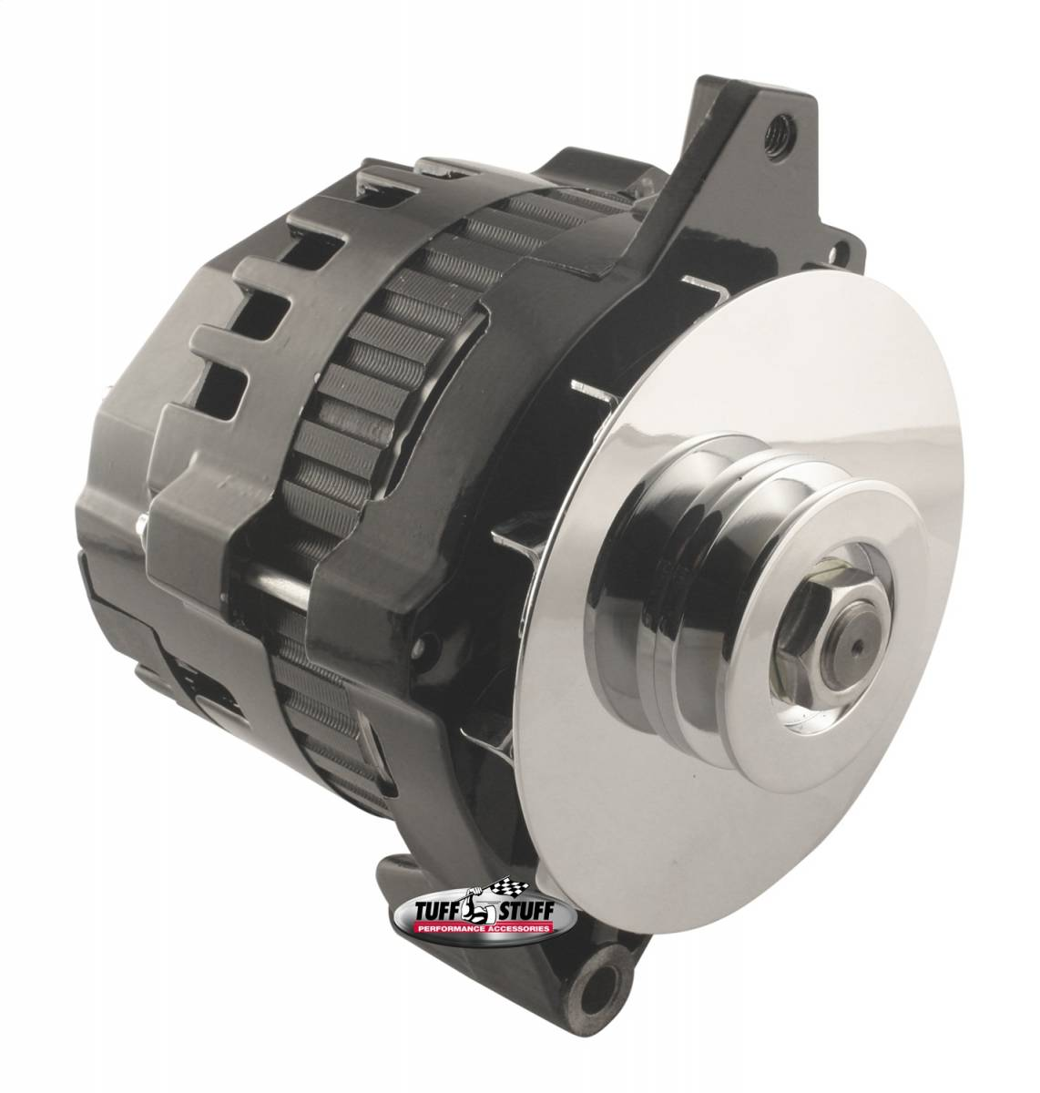 Tuff Stuff Performance - Alternator 105 AMP 1 Wire Or OEM V Groove Pulley Double Wide Heavy Duty Ball Bearings Internal And External Cooling Fans Black 7935E