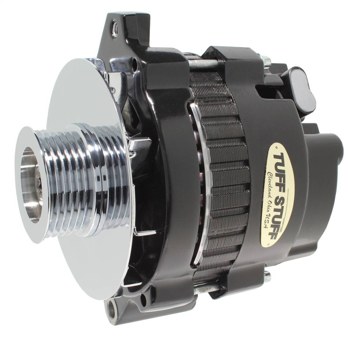 Tuff Stuff Performance - Alternator 105 AMP 1 Wire Or OEM 6 Groove Pulley 6.125 in. Bolt To Bolt Black 7866E6G