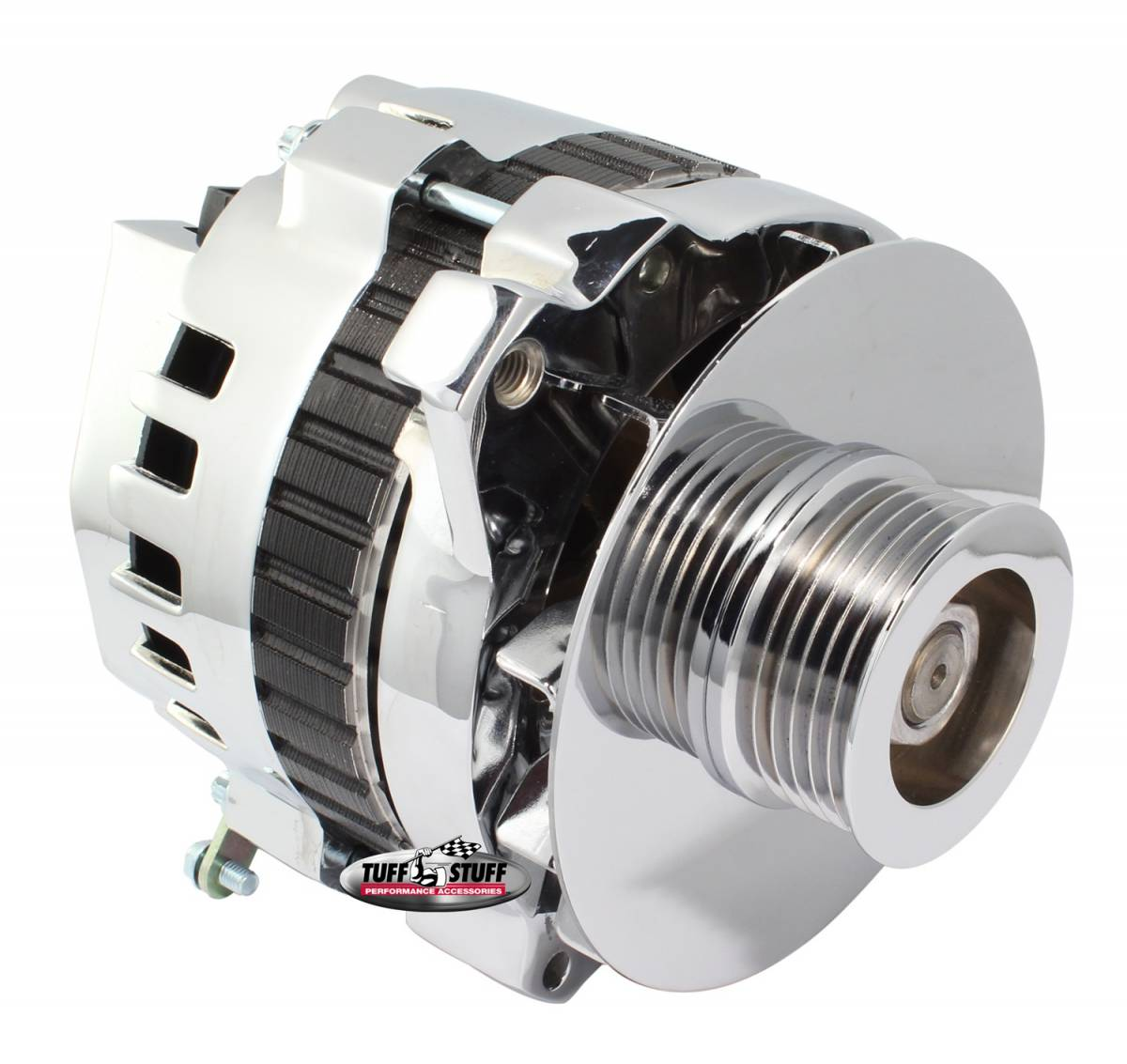 Tuff Stuff Performance - Alternator 105 AMP 1 Wire Or OEM 6 Groove Pulley 6.125 in. Bolt To Bolt Chrome 7866D6G