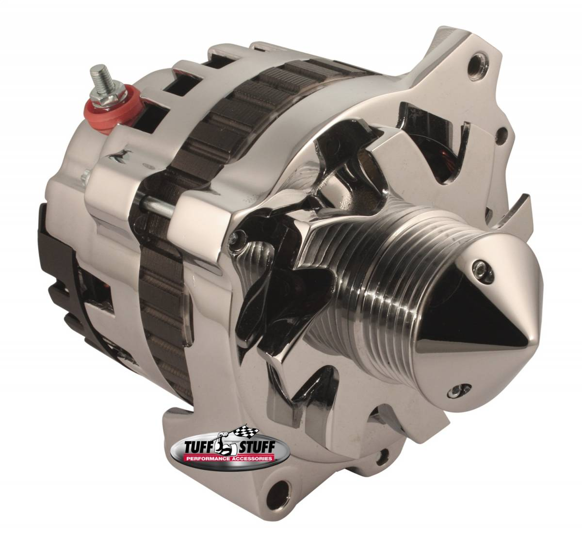 Tuff Stuff Performance - Silver Bullet Alternator 160 AMP 1 Wire Or OEM Hookup 6 Groove Pulley 6.125 in. Bolt To Bolt Bullet Fan Polished 7866BBULL6G