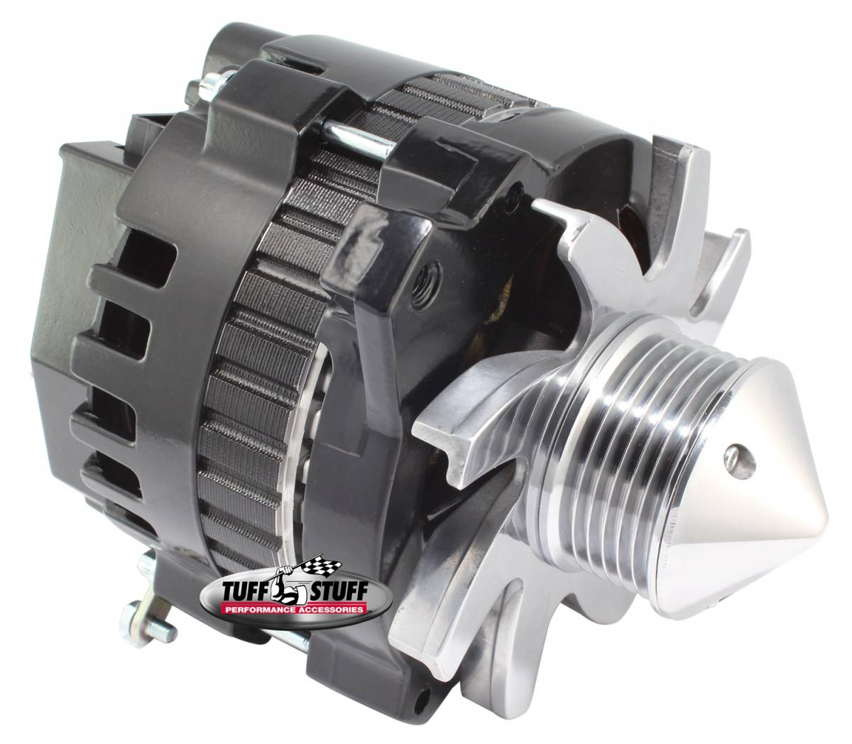 Tuff Stuff Performance - Bullet Alternator 160 AMP 1 Wire Or OEM Hookup 6 Groove Pulley 6.125 in. Bolt To Bolt Stealth Black 7866G6GS22