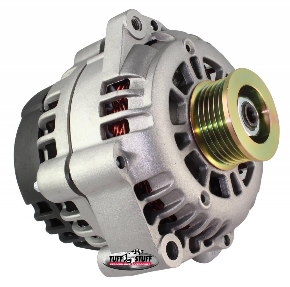 Tuff Stuff Performance - Alternator 175 AMP Upgrade Factory Cast PLUS+ 1-Wire Hookup Back Post 6 Groove Pulley 8233ND1