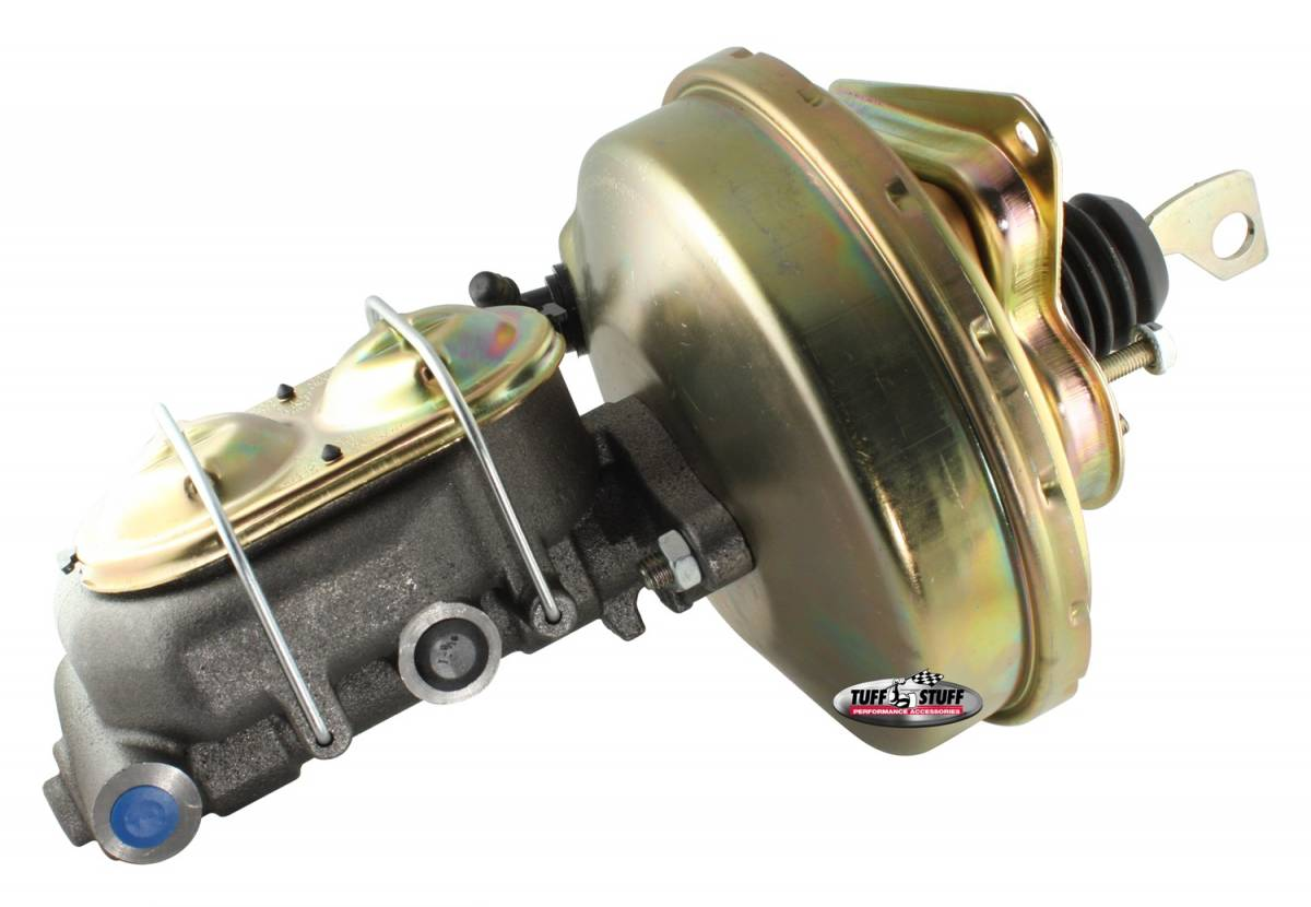 Tuff Stuff Performance - Brake Booster w/Master Cylinder 9 in. 1 in. Bore Single Diaphragm w/PN[2018] Dual Rsvr. Master Cyl. Incl. (5) 3/8 in.-16 Mtg. Studs-1 Is Offset Gold Zinc 2125NB-2