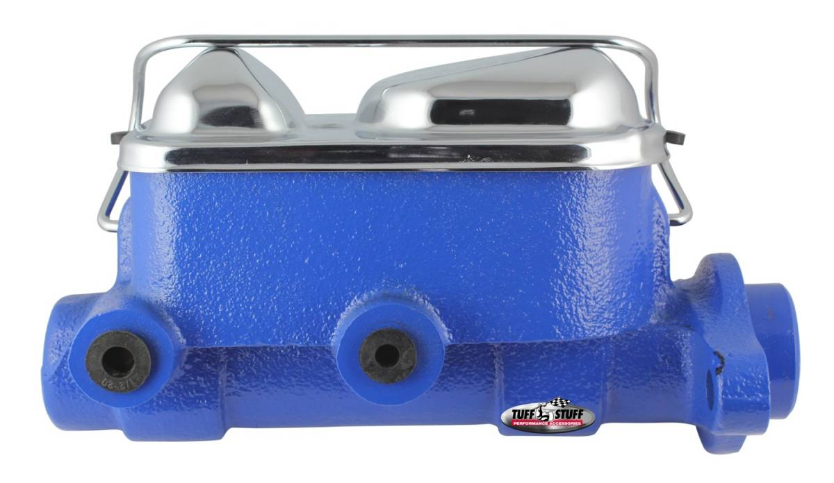 Tuff Stuff Performance - Brake Master Cylinder Dual Reservoir 1 in. Bore 3/8 in-24 And 1/2 in.-20 Ports 3 1/8 in. Mounting Hole Spacing Blue Powdercoat w/Chrome Accents 2017NBBLUE