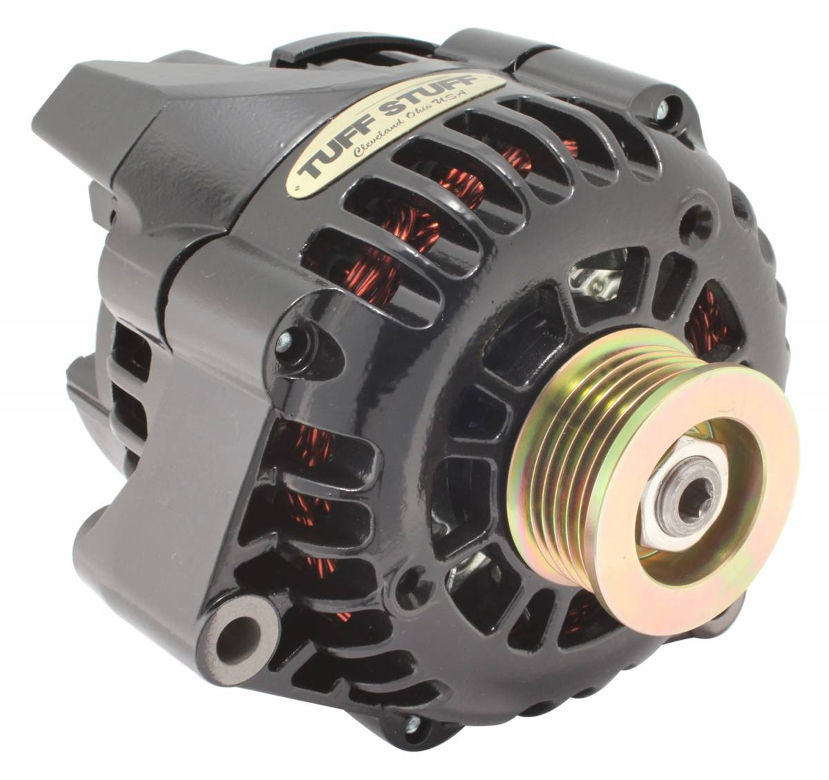 Tuff Stuff Performance - Alternator 175 AMP Upgrade 1-Wire Or OEM Wire 6 Groove Pulley LS1 Engines Only Black 8242NB