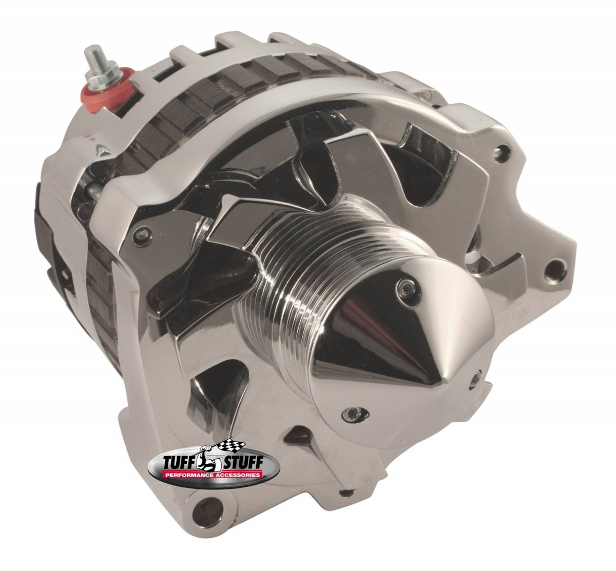 Tuff Stuff Performance - Silver Bullet Alternator 160 AMP 1 Wire Or OEM Hookup 6 Groove Pulley Spike Resistant Diodes Chrome 7860ABULL6G