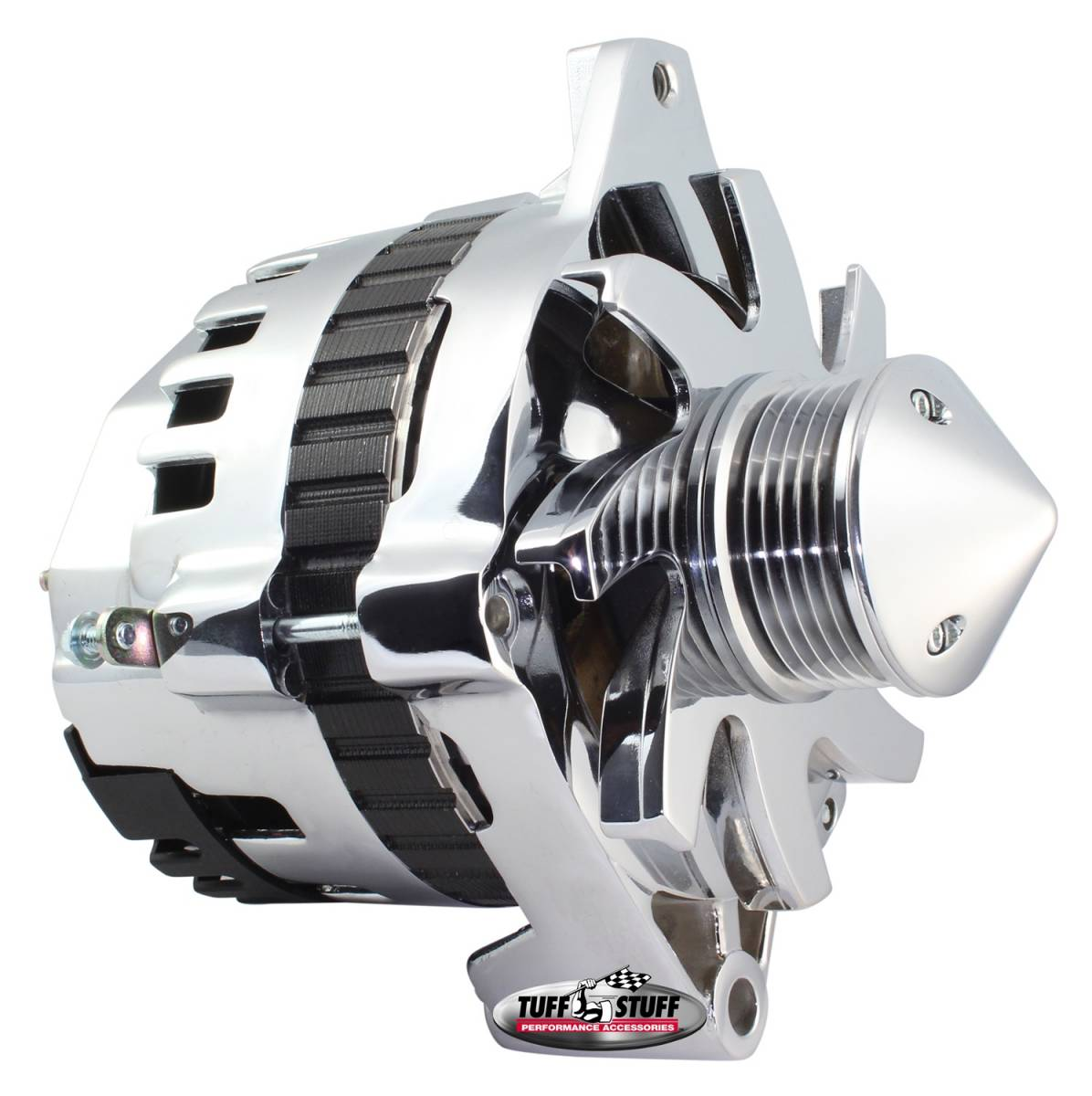 Tuff Stuff Performance - Bullet Alternator 160 AMP 1 Wire Or OEM Hookup 6 Groove Pulley Double Wide Heavy Duty Ball Bearings Polished 7935FP6G22